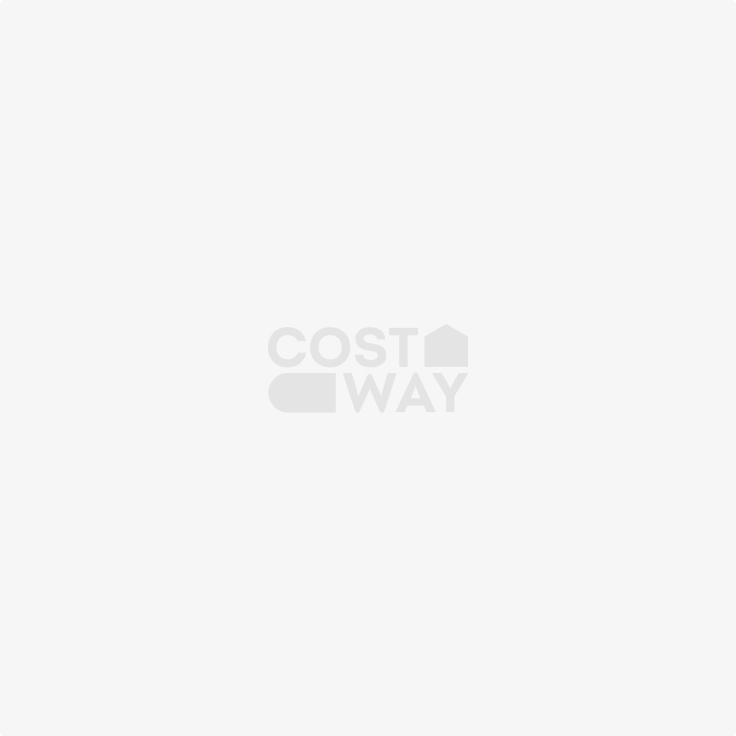 Costway Armadio portagioie con specchio in legno a parete con LED interno 33,5x10x120cm Nero